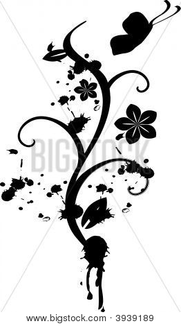 Grunge style vector floral vine design with butterfly and flowers