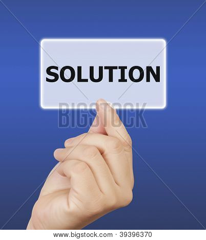 Man Hand Holding Button Solution Keyword