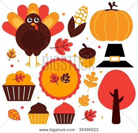Colorful Thanksgiving Design Elements Isolated On White
