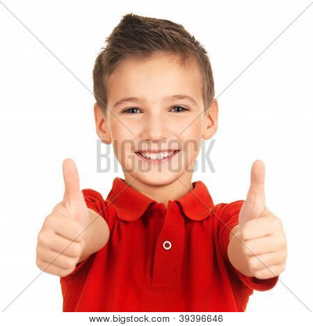 Portrait Of Cheerful Boy Showing Thumbs Up Gesture