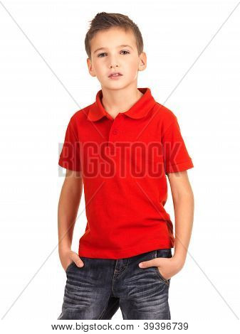 Young Beautiful Boy Posing At Studio As A Fashion Model.