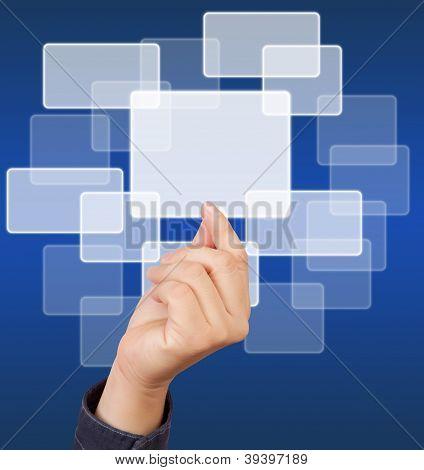 Man Hand Touching Button.