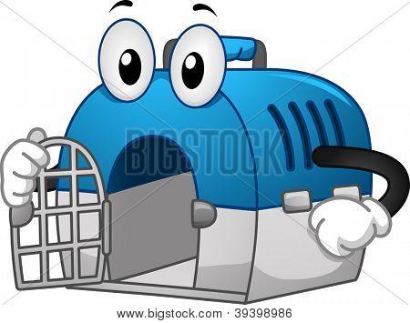 Ilustración de la mascota de un cajón de Pet con su puerta abierta