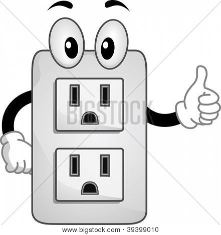Mascot Illustration of an Electric Socket Giving a Thumbs Up