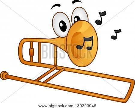 Mascot Illustration Featuring Musical Notes Coming from a Trombone's Mouth