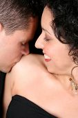 image of semi-formal  - Young couple in love faces close to one another - JPG