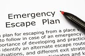image of precaution  - Emergency Escape Plan definition with red pen - JPG