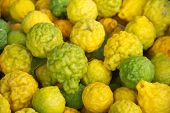 pic of leech  - Ripe Kaffir limes fruit or Bergamot fruit - JPG