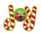 stock photo of magi  - Christmas Magi encased in word joy - JPG