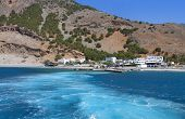 foto of samaria  - Aghia Roumeli bay and the exit of Samaria gorge at Crete island in Greece - JPG