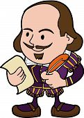 stock photo of william shakespeare  - Illustration of William Shakespeare with paper and feather pen - JPG