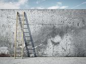 stock photo of descending  - Ladder on wall in front of cloudy sky - JPG