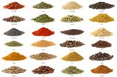 stock photo of cumin  - Different spices isolated on white background - JPG