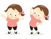 picture of obesity children  - Illustration of a obese girl who lost weight - JPG