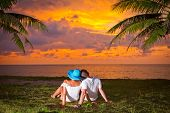 Couple in hug watching together sunset under palm tree