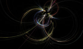 picture of higgs boson  - Fractal particle collision showing colorful trails on black background - JPG