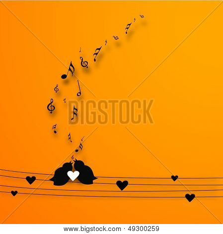 Love birds singing a song, background for musical lovers.