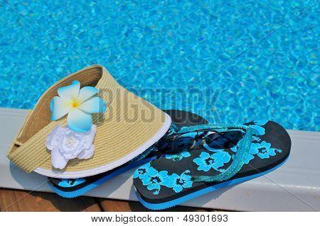 Flip flops and a sunvisor