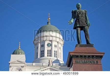 Statue Of Russian Czar Alexander II Against The Cathedral