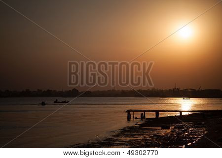 Sunset On Timsah Lake, Part Of Suez Canal, Ismailia, Egypt