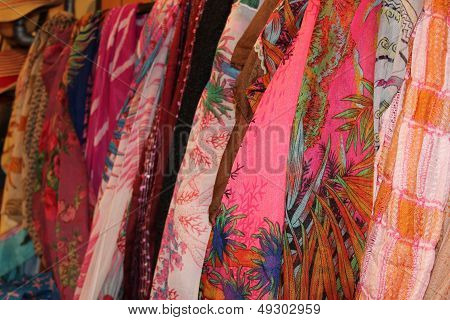 Colorful Scarves in a Store Display