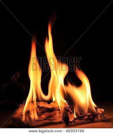 Nice warm fire on black
