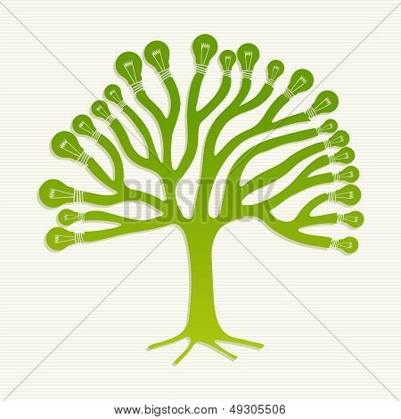Green Recycle Light Bulbs Tree Illustration