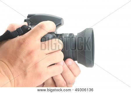 Hand holding a digital camera