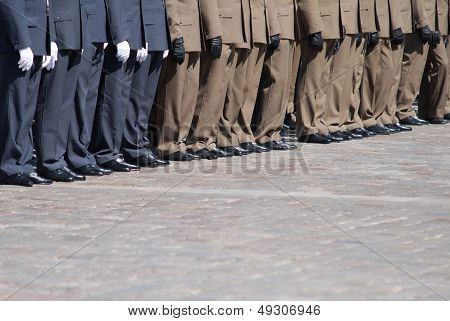 Navy Suit Soldiers In Formation