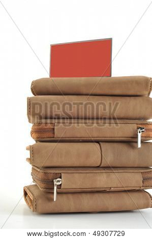 Piled up on white background wallet