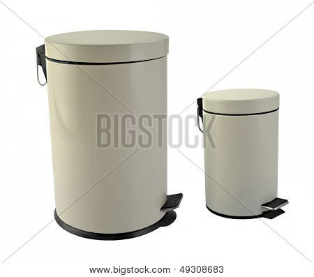Two trash cans in white background