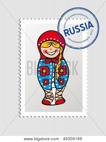 Russia Cartoon Person Travel Stamp.