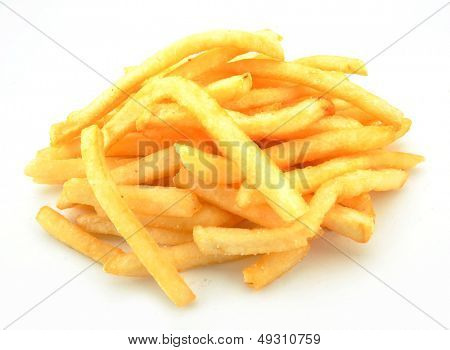 French fries against a white