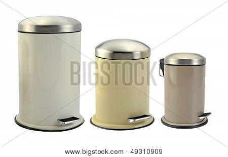 Isolated image of three rubbish bin