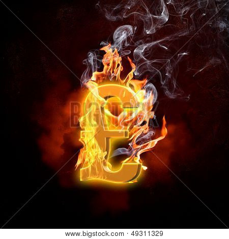 Pound symbol in fire flames