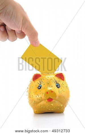 Hand mit Bankcard und Sparschwein, isolated on white background