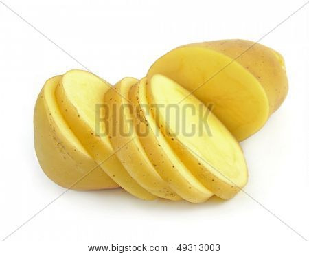 Chopped potato isolated on white background