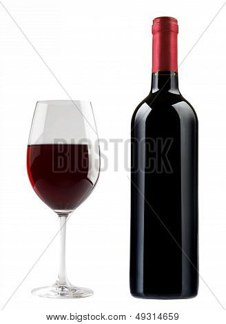 bottle and a glass of dry red wine