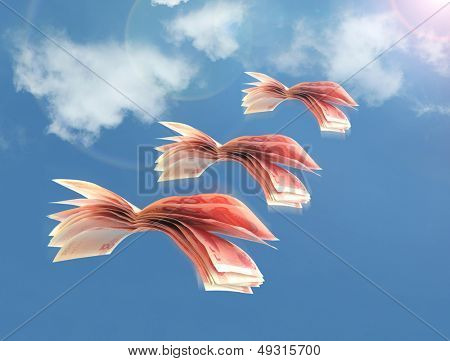 rmb bills fly in flocks in the sky against a background of white clouds