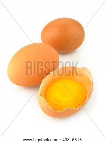 eggs yolk on a white background