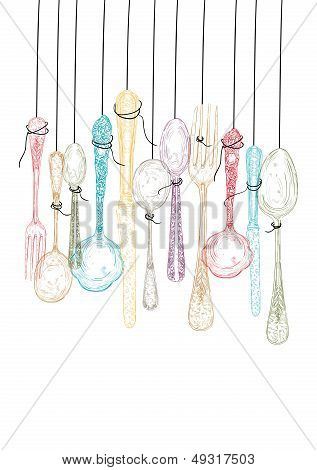 Hanging Cutlery Elements Sketch.