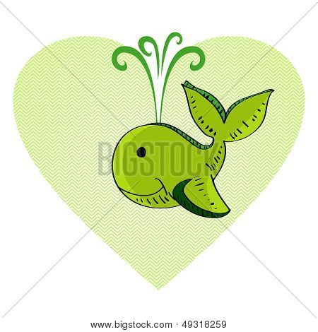 Sketch Style Green Whale Love Concept.