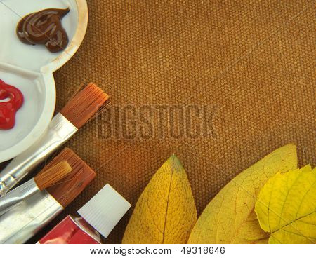 Painting Supplies With brown cloth background
