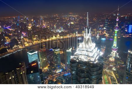 Bird's eye view of Shanghai at night
