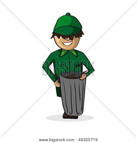 Profession Garbage Man Cartoon Figure.