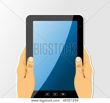 Hands Holding Tablet Drawing Set