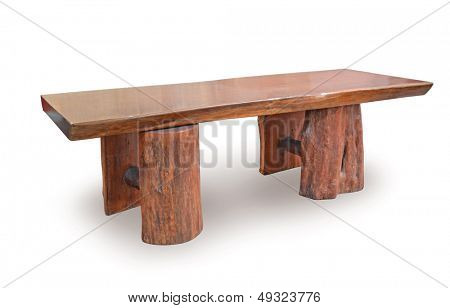 brown wooden table isolated on white background