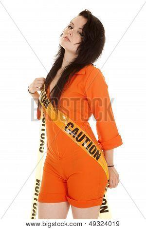 Woman Orange Prison Caution Side