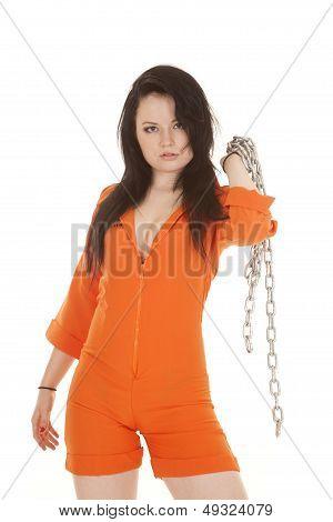 Woman Orange Prison Chain Over Shoulder