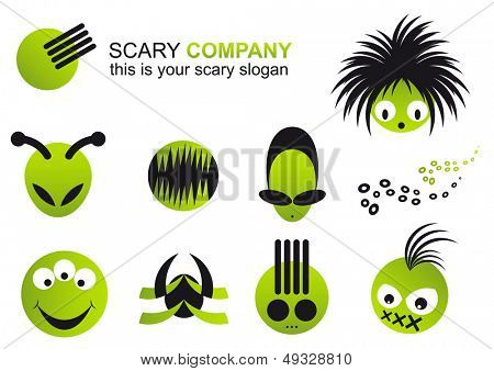 scary logo set